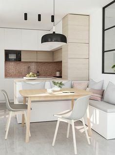 amenagement petite cuisine, cuisine petit espace, luminaire noir en style industriel, meuble de cuisine angulaire, coin en forme de niche avec crédence en mosaïque rose