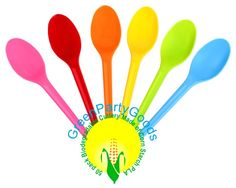 Greenware | Utensils / Eco-Friendly | Compostable Spoons Colored PLA - Package of one color of 50 | Green Toys, Gifts & Party Supplies at Green Party Goods