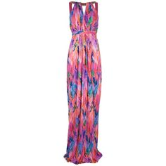 Matthew Williamson Printed maxi dress ($720) ❤ liked on Polyvore featuring dresses, gowns, vestidos, long dresses, maxi dress, jersey dress, open back maxi dress, empire waist gown, long beaded dress and rayon maxi dress