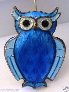 DAVID ANDERSEN STERLING SILVER ENAMEL OWL BROOCH PIN | eBay