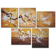 Perfect for my bathroom.  Plum Blossom Hand-painted Oil on Canvas Art Set | Overstock.com Free Shopping - $149.00