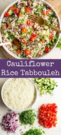 You'll love this Cauliflower Rice Tabbouleh Salad that is just like the original, without the grains! Fresh herbs, veggies, and a lemon dressing. Paleo Recipes Easy, Whole 30 Recipes, Great Recipes, Fast Recipes, Sugar Free Bacon, Dinner Bowls, Sprouts With Bacon, Grass Fed Beef, Cauliflower Tabbouleh