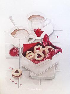 "tea & cookies by ""pájaros"" VERONICA ALGABA Tea Illustration, Dessert Illustration, Illustration Sketches, Food Illustrations, Watercolor Illustration, Chibi Kawaii, Food Cartoon, Watercolor Food, Tea Cookies"
