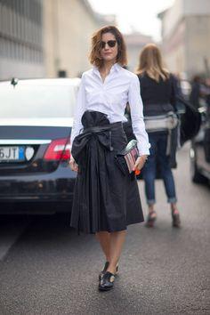 LFW Street Style - crisp white shirt street tucked into stunning black skirt - great shoes too.
