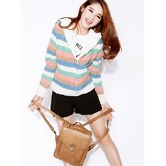 Beige Lady Stripped Long Sleeve Hooded Thicken Knitting Flocked Fabric... via Polyvore