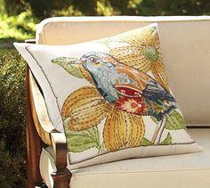 Anna Marie Embroidered Bird Indoor/Outdoor Pillow #potterybarn