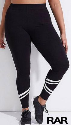 c3ca21176ca Plus Size Elastic Waist Mesh Striped Sport Leggings from RAR. Come check  out all our