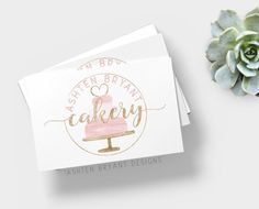 Shop for on Etsy, the place to express your creativity through the buying and selling of handmade and vintage goods. Bakery Business Cards, Cake Business, Business Logo, Business Card Design, Baking Business, Cake Logo Design, Branding Design, Sweet Logo, Baker Logo