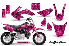 9aad2279953 Skulls   Butterflies - Pink Background Black Design Ragazza Da Moto Da  Cross