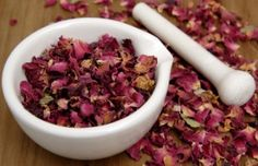 Rose petal body polish  1 cup dried organic rose petals (available in most health food stores)  1/2 cup fine pink Himalayan salt  1/4 cup Grapeseed oil  2-5 drops of essential oil of either Rose or less expensive Rose Geranium  Directions: In a blender or food processor grind the rose petals into a fine power. Transfer into a bowl and add the salt, oil and essential oils.     Thank you Carrie @PinkElephant