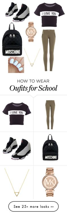 """School"" by lovemedes1234 on Polyvore featuring Lovers + Friends, Emilio Pucci, NIKE, Michael Kors, Moschino and Wanderlust + Co"