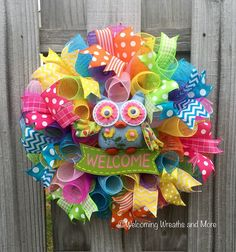 Welcome Wreath, Spring Deco Mesh Wreath, Spring Welcome Wreath, Welcome Owl Wreath, Summer Wreath