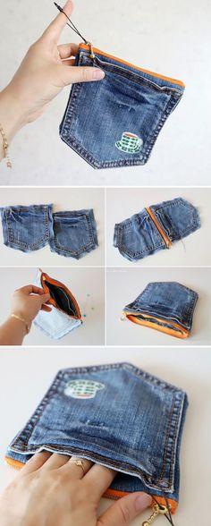 Comment faire un porte-monnaie en denim. Tutoriel DIY #bag #tutorial #sew #denim #bag #Comment #denim #DIY #en #faire #portemonnaie