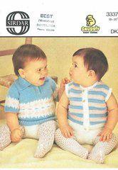 Sirdar 3337 baby jumpers vintage knitting pattern