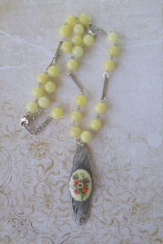 Upcycled brooch necklace repurposed shabby chic boho
