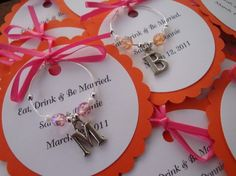 wine glass charm shower favor