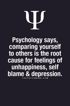 Fun Psychology facts here! Stop comparing yourself with other people. It won't help you.