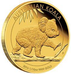Australian Koala Gold Coin Series 2016 1/10oz Proof Coin
