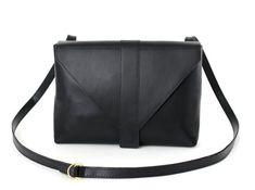 Minimalistic Crossbody Bag Genuine Leather in Black satchel Black Leather Satchel, Leather Crossbody Bag, Leather Purses, Leather Bags, Hip Bag, Bag Sale, Messenger Bag, Shoulder Bag, Fanny Pack