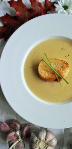 Krémová česnečka Food And Drink, Pizza, Chicken, Meat, Cooking, Soups, Kitchens, Kitchen, Soup
