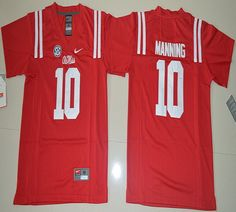 Youth Ole Miss Rebels Eli Manning 10 College Alumni Football Jersey - Red