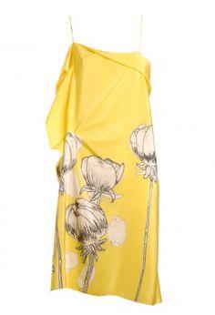 vestido amarelo de alças com maxi estampa