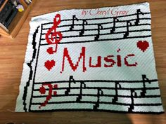 Musical Afghan C2C Graph with Word Chart by CrochetCouch on Etsy