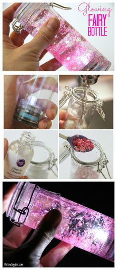 Glowing Fairy Bottle - A beautiful glittery, water-filled jar that illuminates a. - Glowing Fairy Bottle – A beautiful glittery, water-filled jar that illuminates and glows in the d - Kids Crafts, Jar Crafts, Creative Crafts, Crafts To Do, Craft Projects, Simple Crafts, Glow Crafts, Summer Crafts, Cute Diy Crafts For Your Room