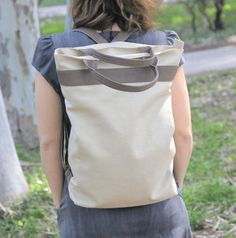 Laptop backpack, beige tote bag for Womens , handmade shoulder bag, school bag, faux leather bag by tahelsadot