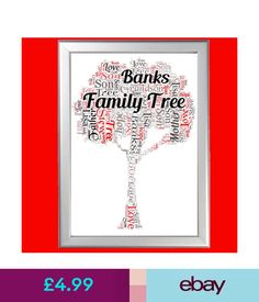 Plaques & Signs Personalised Family Tree Word Art For Birthday Him Her Special Gift Present #ebay #Home & Garden