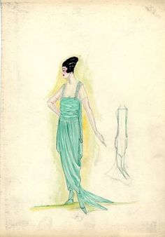 """<em>""""Evening Dress, 1917. Green ankle length dress, draped skirt, fishtail train; bodice with wide straps, sheer sleeves. (Bendel Collection, HB 021-34)""""</em>, 1917. Fashion sketch, 12.25 x 8.5 in (31.1 x 21.6 cm). Brooklyn Museum, Fashion sketches. (Photo: Brooklyn Museum, SC01.1_Bendel_Collection_HB_021-34_1917_SL5.jpg"""