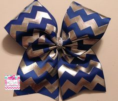 Royal Blue and Silver Foil Chevron Cheer Softball Bow by LivinTheBowLife on Etsy