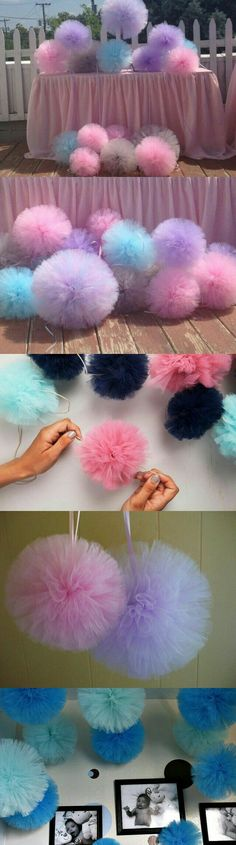 23 Clever DIY Christmas Decoration Ideas By Crafty Panda Birthday Decorations, Baby Shower Decorations, Wedding Decorations, Tulle Pompoms, Ballerina Party, Pom Pom Crafts, Creation Deco, Baby Party, Unicorn Party
