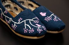 Painted Canvas Shoes | Birds and Trees Custom Painted Canvas Shoes by WalkingInRoses