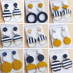 EARRING LOVE . Well hello sailor! I'm currently decked (yes another boaty reference!) in mustard and navy stripes so these pretty things from @winterbloomdesign stood out like a wooden leg. In a good way. . We're at hump day guys. Just keep paddling. . #earringholder #bonmaxie #jewelrystand