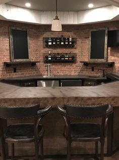 37 incredible basement bar design that'll make feel good 13 Wooden Wall Shelves, Rustic Shelves, Floating Shelves, Shelf Wall, Glass Shelves, Basement Bar Designs, Basement Ideas, Basement Bars, Basement Sports Bar