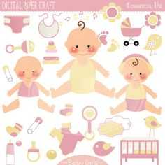 Clipart Baby Girls  INSTANT DOWNLOAD by DigitalPaperCraft on Etsy, $5.00