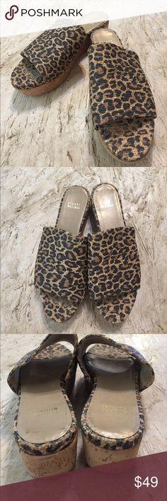 Stuart Weitzman Leopard Print wedges. Size 10.5M Stuart Weitzman Leopard Print wedges. Size 10.5M.  Nearly new. Worn once. One inch heel and platform. Feel like flats!  Super cute. Stuart Weitzman Shoes Sandals