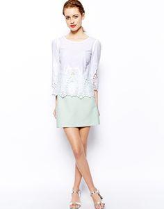 {ASOS New Look Mini Fan Jacquard Skirt in Mint - under $50}