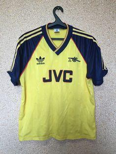 2b89c7f87 RARE ARSENAL LONDON ENGLAND 1988 1989 1990 AWAY FOOTBALL SHIRT MAGLIA JVC  ADIDAS