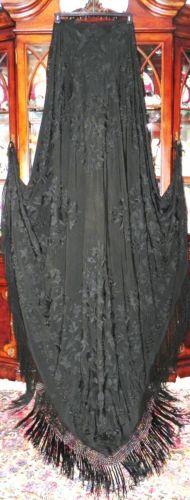 Art Deco Canton Embroidered Black Silk Floral Huge Manton de Manila Piano Shawl   eBay