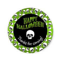 #Green | Black Skull Happy Halloween Thank You Classic Round Sticker - #Halloween happy halloween #festival #party #holiday