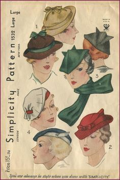 Vintage Simplicity hat patterns, 1934