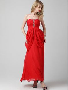 A Line Spaghetti Strap Floor Length Red Evening Dress
