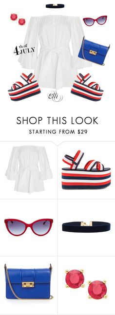"""4th Of July"" by elli-skouf ❤ liked on Polyvore featuring Cameo, Y.R.U., Roberto Cavalli, Vanessa Mooney, Lanvin, redwhiteandblue, july4th, summer2016 and PVHint"