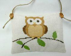 Owl On A Branch Cross Stitched Hanging Mini by luvinstitchin4u, $17.50