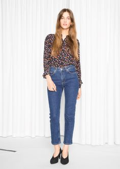 & Other Stories image 2 of Straight Denim Jeans in Dark Blue