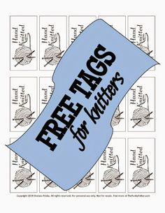 """free handmade knit tags or labels for fiber craft gifts or items for sale - a downloadable pdf to print on cardstock that say """"Hand Knitted"""""""