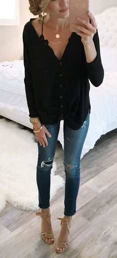 #winter #outfits Al The For This Oversized Thermal Top! It Comes In 6 Colors And Is $44. I Tied The The Front Of Mine But It Can Be Worn So Many Different Ways. Ps My Jeans Are Old So I Linked Similar Pairs.
