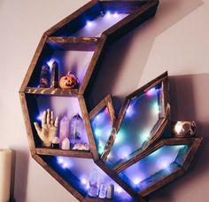 handmade home decor Crystal Crescent Moon Shelf moon shelf altar wicca Wicca Altar, Wicca Witchcraft, Wiccan, Pagan, Essential Oil Shelf, Essential Oils, Crystal Shelves, Rustic Outdoor Decor, Boho Dekor
